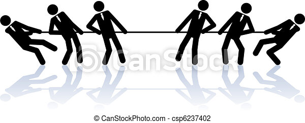 Rope pulling business people - csp6237402