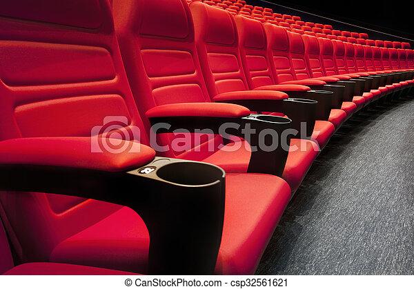 ror, teater, film, röd, sittplatser, eller, tom - csp32561621