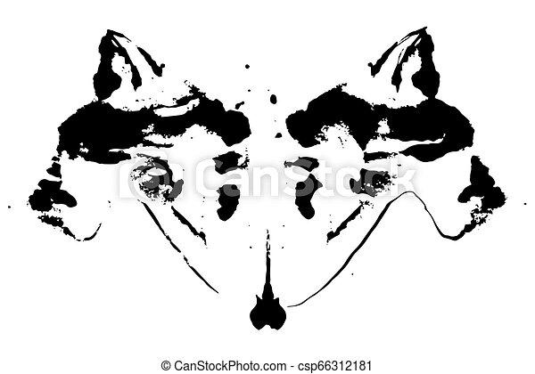 Rorschach Inkblot Test Illustration Random Symmetrical Abstract Ink Stains