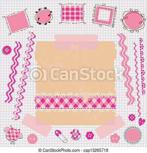 rosa, álbum de recortes, kit - csp13265718