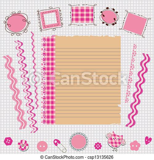 Un kit de álbumes rosas - csp13135626