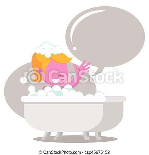 rosa, allegro, ragazza, callout, vasca bagno - csp45675152
