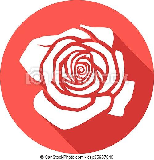 rosa, apartamento, ícone - csp35957640
