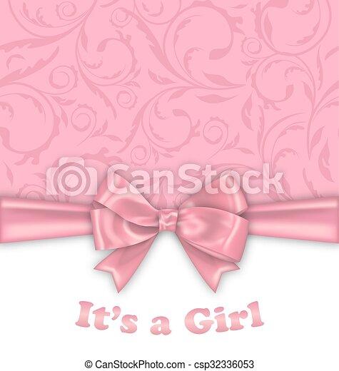 Tarjeta De Invitación Para El Baby Shower Con Cinta Rosa