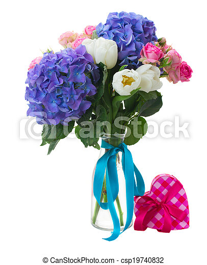 Rosa Azul Tulipanes Hortensia Rosas Ramillete Flores Blancas