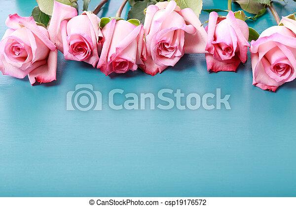 Rosas rosas en una tabla de madera azul turquesa - csp19176572