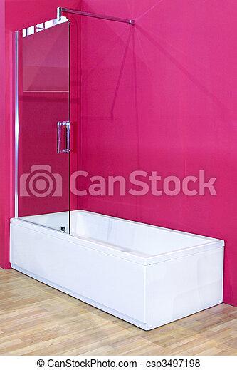 Rosa, badezimmer. Rosa, wand, glas, weißes, badewanne, tafel.