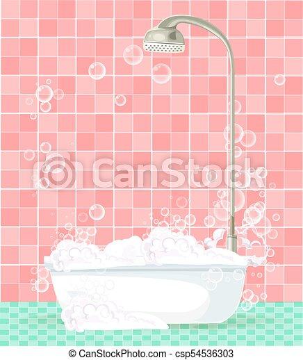 Rosa, badezimmer, voll, schaum, gekachelt, hintergrund ...