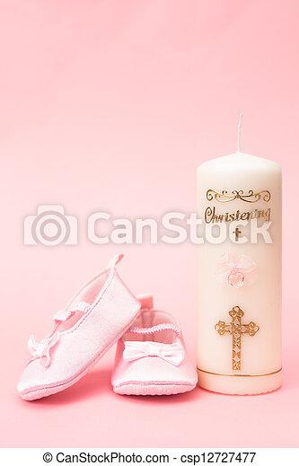 Rosa Bambino Battesimo Bottini Candela Sfondo Rosa Battesimo