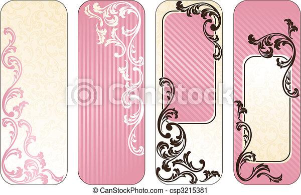 rosa, baner, fransk, romantisk, vertikal - csp3215381
