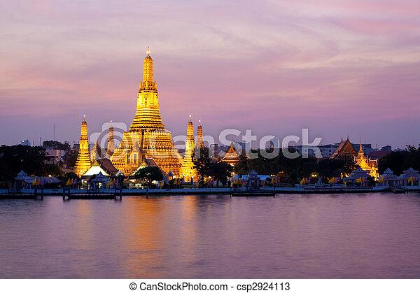 rosa, bangkok, tramonto, tailandia, arun, crepuscolo, wat - csp2924113