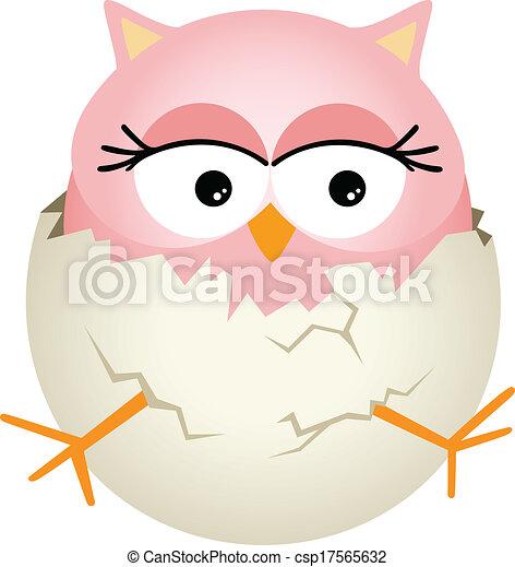 Búho de bebé rosa en huevo - csp17565632