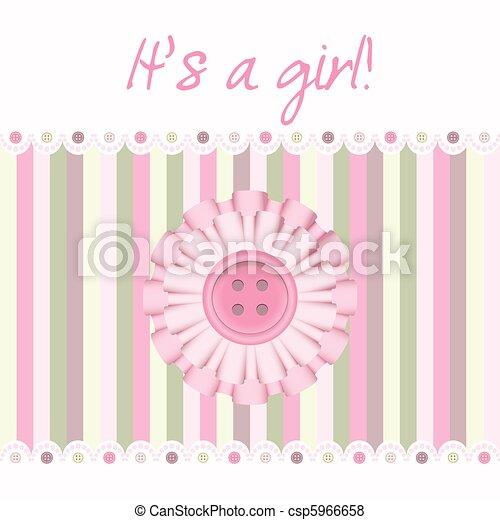 Tarjeta rosa de bebé - csp5966658