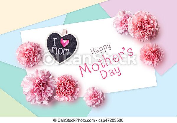 Rosa, begriff, mütter, farbe papier, nelke, blumen, tag, glücklich.
