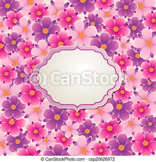rosa blommar, bakgrund, violett - csp20626972