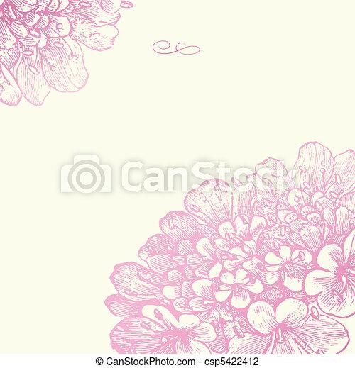 rosa, blumen-, rahmen, vektor, quadrat - csp5422412