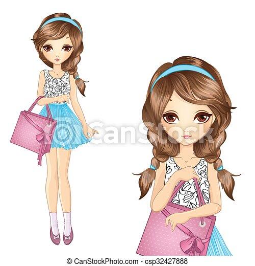 Una chica con una bolsa rosa - csp32427888