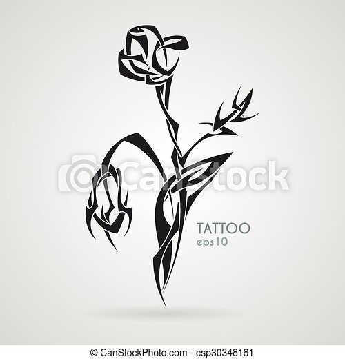 Rosa Bouquet Tattoo Tribal Vector