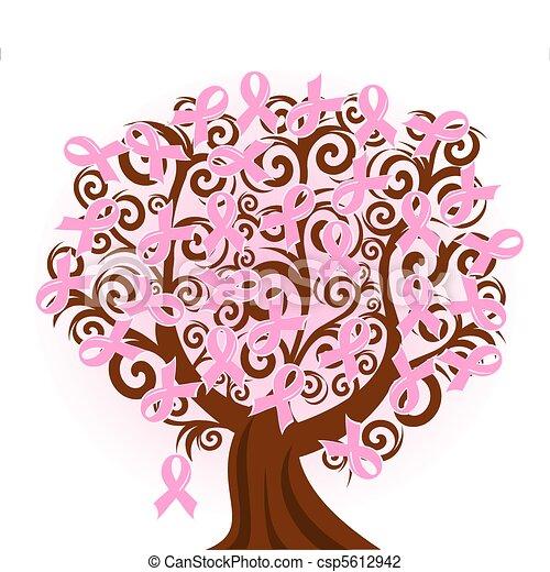 Ilustración de vectores de un árbol rosa de cáncer de mama - csp5612942