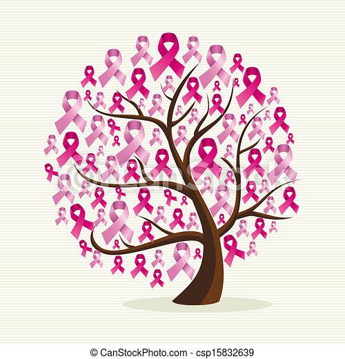 Sensitivo de cáncer de pecho con un árbol con cintas rosas. El archivo de vector EPS10 organizado en capas para la edición fácil. - csp15832639