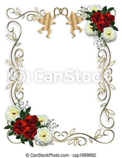 rosa, casório, borda, vermelho, convite - csp1689892