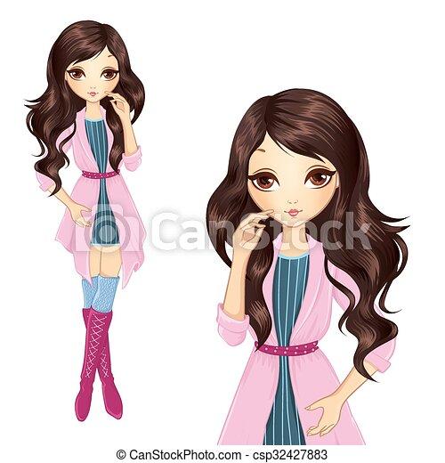 Una morena con abrigo rosa - csp32427883