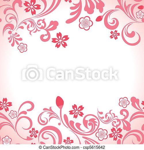rosa, ciliegia, cornice, seamless, fiore - csp5615642