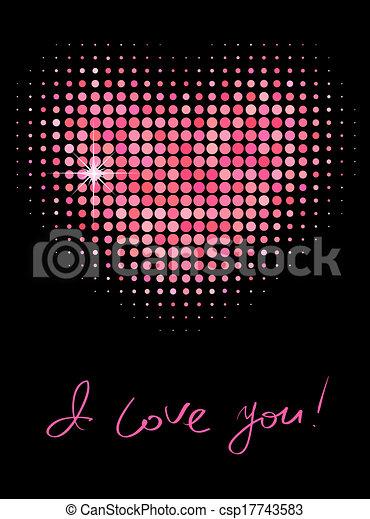 rosa, colorare, forma, halftone, cuore - csp17743583