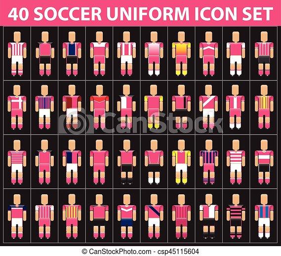 40 juegos de íconos de fútbol rosa - csp45115604