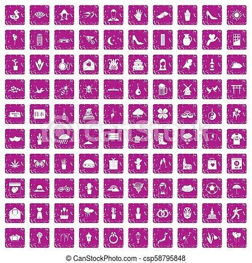 100 iconos de flores ponen color rosa grunge - csp58795848