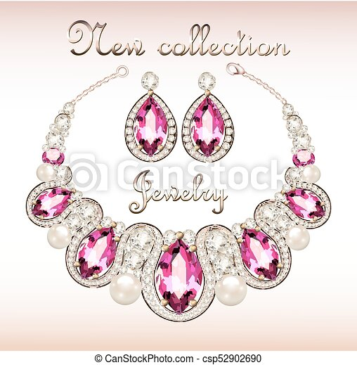 9c7a566c647d rosa, conjunto, joyas, piedras preciosas, ilustración, hembra, collar,  pendientes