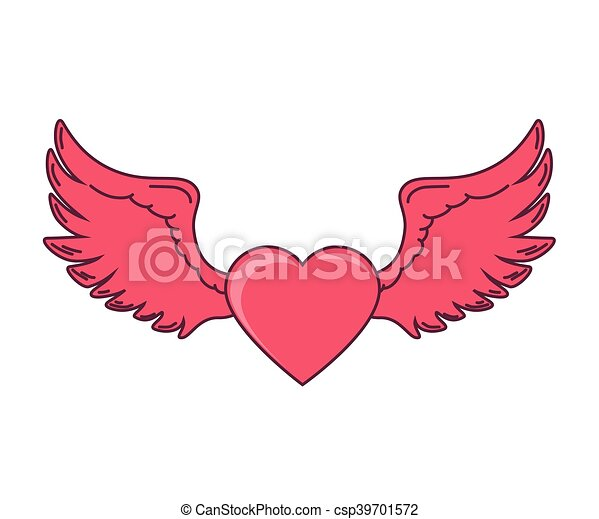 Rosa Corazón Amor Alas Rosa Corazón Vector Amor Ilustración