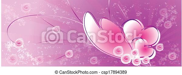 rosa, corazones, plano de fondo - csp17894389