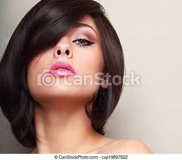 rosa, cortocircuito, lips., pelo recto, mujer, primer plano, sexy, negro - csp19897822