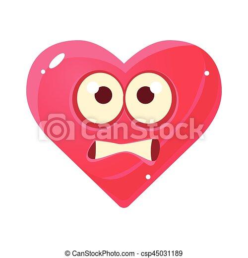 Rosa cuore emoji spaventato carattere isolato emoticon