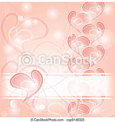rosa, cuori, delicato, scheda, romantico - csp9148323