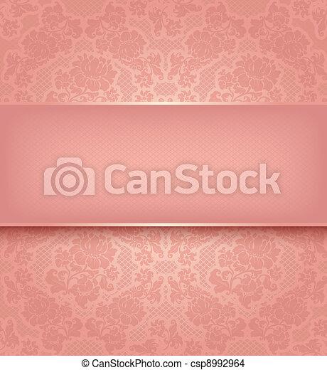 rosa, dekorativ, spitze, hintergrund, blumen, schablone - csp8992964
