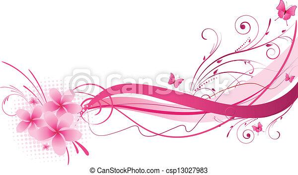 rosa, disegno, plumeria, florals - csp13027983