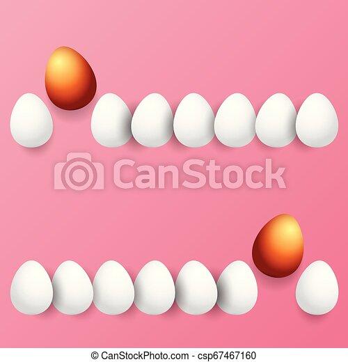 Feliz tarjeta de felicitación con colorido huevo dorado y huevos blancos aislados en el fondo rosa. Vector Happy Easter ilustración creativa - csp67467160