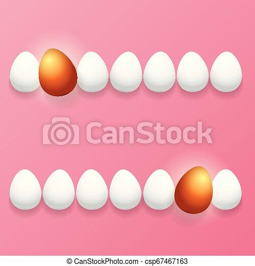 Feliz tarjeta de felicitación con colorido huevo dorado y huevos blancos aislados en el fondo rosa. Vector Happy Easter ilustración creativa - csp67467163
