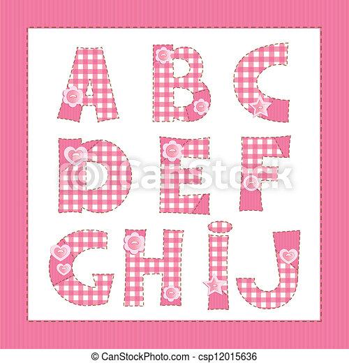 alfabeto de tela rosa. Cartas A, B, C, D, E, F, G, H, I, J - csp12015636