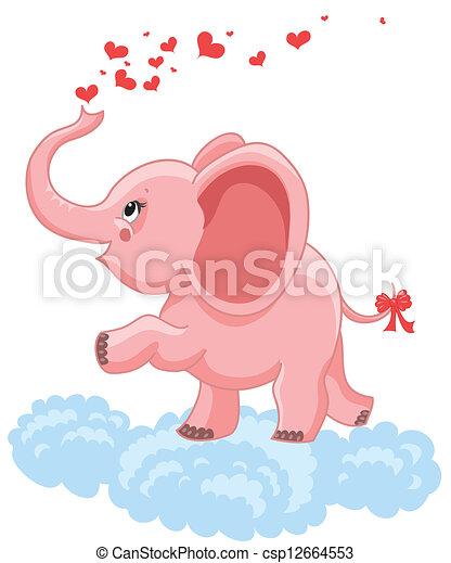 Rosa Elefante Bebé Corazones