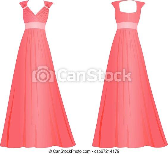 Mujer rosa vestido elegante - csp67214179