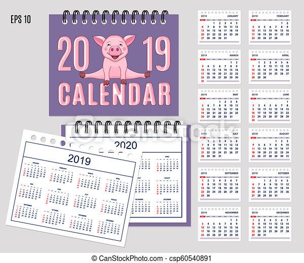 Calendario Impuestos 2020.Rosa Escritorio Espiral 2020 Cerdito Ano 2019 Calendario