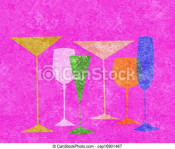 Bebidas estilizadas en un fondo rosado caliente - csp16901467