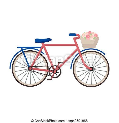 Bicicleta rosa con icono en estilo de dibujos animados aislado en fondo blanco. El símbolo del país de Francia de la ilustración de vectores. - csp43691966