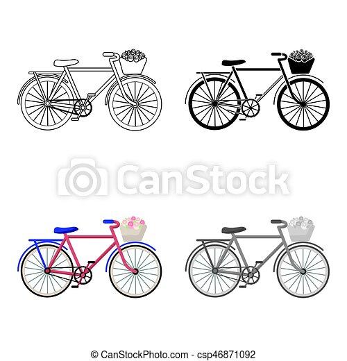 Bicicleta rosa con icono en estilo de dibujos animados aislado en fondo blanco. El símbolo del país de Francia de la ilustración de vectores. - csp46871092