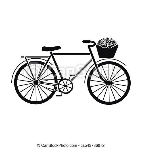 Bicicleta rosa con icono en estilo negro aislado en fondo blanco. El símbolo del país de Francia de la ilustración de vectores. - csp43736872