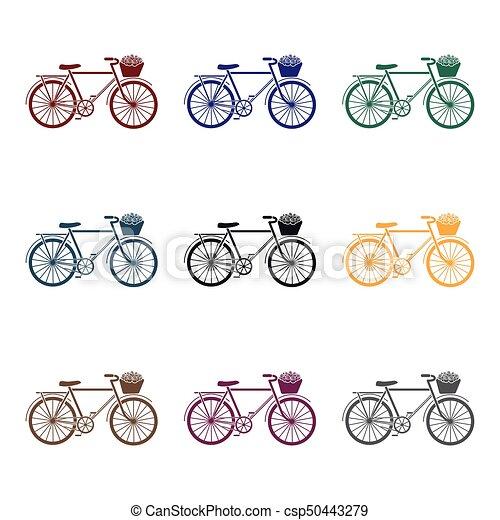 Bicicleta rosa con icono en estilo negro aislado en fondo blanco. El símbolo del país de Francia de la ilustración de vectores. - csp50443279