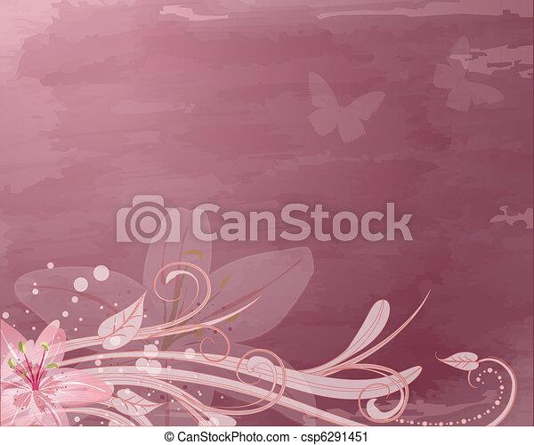 Flores de fantasía rosadas retro - csp6291451
